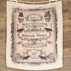 Dress up your Halloween kitchen or bar with this spooky Once Upon A Midnight Dreary Towel. Keep your bar and kitchen tidy with this cotton towel featuring vintage-inspired curiosities. Aged cotton towel L x W Imported Fairy Halloween Costumes, Halloween Labels, Halloween Party Supplies, Retro Halloween, Halloween Signs, Scary Halloween, Halloween Themes, Fall Halloween, Halloween Crafts