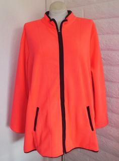 c9941c63033 Catherines 3X Neon Coral Black Fleece Pocket Zipper Long-Sleeve Jacket Plus  Size  Catherines