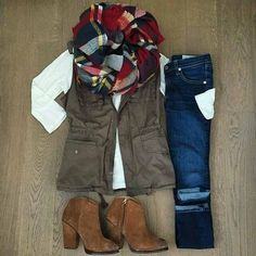 Pretty sure you've seen this one a couple of times on pinterest #scarf#scarfseason #plaid #plaidscarf #white #brown #vest #jeans #darkjeans #boots #brownboots #ankleboots#fall #fallstyle #fallfashion #love#outfitideas #simpleandcute #need #inspiration #ootd #comfortable