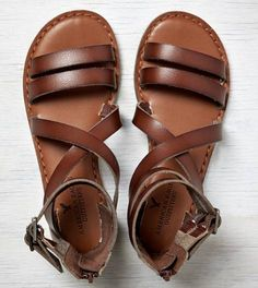 Medium Brown AEO Buckled Gladiator Sandal