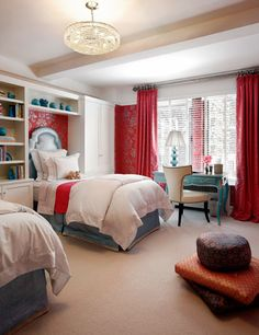 Girl's rooms - red damask paint wallpaper turquoise blue desk lamp chair nailhead trim turquoise blue leather twin headboards built-ins cabinets bookcases red silk drapes silk cushions blue bed skirt accents