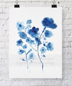 Shibori Blue and White Bouquet Print 8x10 - Blue and White Wall Art - Watercolour Print by driftwoodinteriors on Etsy https://www.etsy.com/listing/231762078/shibori-blue-and-white-bouquet-print