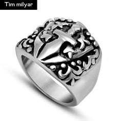 >> Click to Buy << New LOGO Anchor Rings Mens Jewelry Stainless Steel Black Stainless Steel Vintage Jewelry #Affiliate