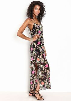 Blossom in this airy, silk-blend maxi dress! Sheer floral print maxi dress with a strappy, deep v-back, and double slit skirt.   http://www.foxyblu.com/
