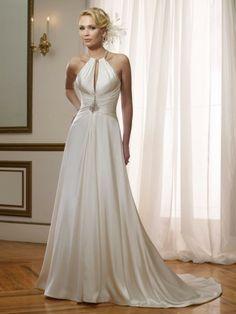 Satin Plunging Halter Neckline Hand-Draping Bodice A-line Wedding Dress