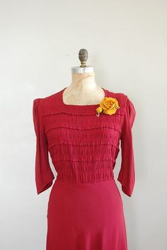 1930s dress with ruching and pleats