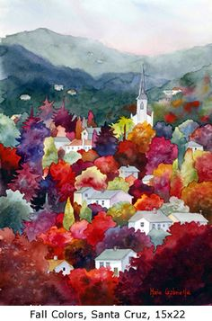 Fall Colors, Santa Cruz, Marie Gabrielle Watercolors