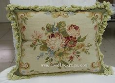 "16""x20"" French Aubusson Design Roses Needlepoint Decorative Sofa Green Pillow"
