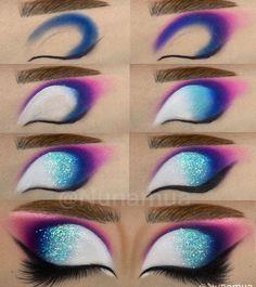 Bright Eye Makeup, Makeup Eye Looks, Colorful Eye Makeup, Halloween Makeup Looks, Cute Makeup, Face Paint Makeup, Eye Makeup Art, Eyeshadow Makeup, Eyeshadows