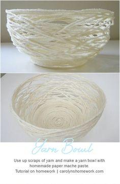 Paper Mache Yarn Bowl via homework | carolynshomework.com