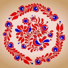 Embroidery Hungarian Hungarian folk vector motives by tupia, via ShutterStock - Hungarian Embroidery, Folk Embroidery, Learn Embroidery, Chain Stitch Embroidery, Embroidery Stitches, Embroidery Patterns, Folk Art Flowers, Flower Art, Scandinavian Folk Art