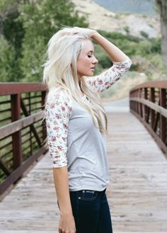 Floral and Gray Raglan Tee 6