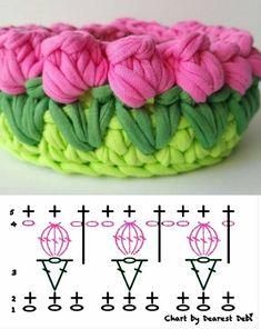 crochet flowers Grfico de detalhes para valorizar seu cesto de fio de malha De Frente Para O Mar - Stricken ist so einfach wie 3 Das Stricken luft auf drei wesentliche Fertigkei Knitting Stitches, Free Knitting, Knitting Patterns, Crochet Patterns, Crochet Ideas, Crochet Home, Crochet Crafts, Knit Crochet, Yarn Crafts