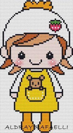Oi gente!!!! voces nem imaginam o quanto eu estou feliz, por fazer essa homenagem a minha amiga!!!! Ela é uma fofa!!!! e eu a tenho como am... Kawaii Cross Stitch, Cross Stitch For Kids, Cross Stitch Baby, Cross Stitch Designs, Cross Stitch Patterns, Knitting Patterns, Embroidery Stitches, Hand Embroidery, Modele Pixel Art