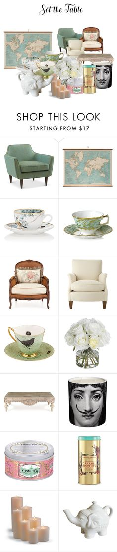 """""""tarde de té"""" by dakotavainilla ❤ liked on Polyvore featuring interior, interiors, interior design, home, home decor, interior decorating, WALL, Hermès, Royal Crown Derby and Massoud"""