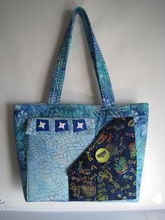 Huge Batik Bag - Dragonfly - Substitute Briefcase - Shades of Blue - Decorative Buttons - 4 Pockets Outside, 8 Inside - 19 in x 13 in x 5 in