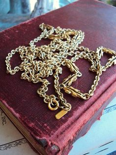 Vintage Monet Long Chain Necklace with by primitivepincushion