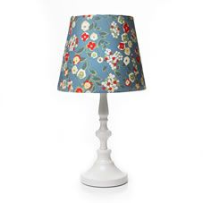 Table lamp with ta pered floral shape shade and White base. No wiring required. Maximum 1x 60w SES E14 Golf bulb or 1x  12wenergy  saving bulb. Bulb not included. For  indoor  use only. Wipe clean  with a soft dry cloth. Not suitable for use in  bathrooms. Always read label.