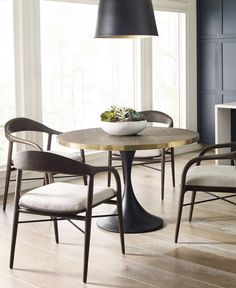 Our take on a classic architectural design, the Baxter Dining Table is a perfect mix of subtle materials. We love the look of banded, brushed brass adorning our Carbon finished teak table top. Dining Table, Room Decor, Dining Chairs, Baxter Dining, Furniture, Table, Teak Table, Apartment Furniture, Home Decor
