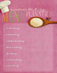 Cute Vintage Printable Menu Planner to post to fridge. Great tool to glance at each night and remind you what to thaw out etc for the next day!