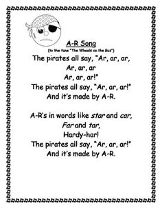 This is a packet of songs I have created for each of the bossy r sounds. There is a song for /ar/, a song for /or/, and a song for the /er/ sound. If you would like worksheets to go along with these songs, you can get them at: Bossy R Phonics Song, Phonics Words, Teaching Phonics, Phonics Activities, Student Teaching, Preschool Pirate Theme, Pirate Activities, Preschool Music, Pirate Songs For Kids