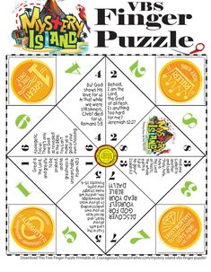 Mystery Island VBS Finger Puzzle - This FREE printable is for the Mystery Island Vacation Bible School theme from Answers in Genesis. Vbs Themes, School Themes, Room Themes, Learn The Bible, Bible For Kids, Island Crafts, Girl Scout Activities, Island Theme, Bible School Crafts