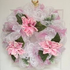 Hey, I found this really awesome Etsy listing at https://www.etsy.com/listing/212041105/snow-frosted-pink-floral-wreath-handmade