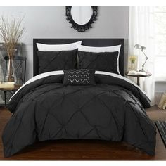 Chic Home Whitley Black 8-Piece Bed in a Bag Duvet with Sheet Set | Pinned by PeachSkinSheets <3