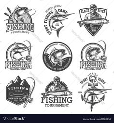 Set of vintage fishing emblems, labels, badges, logos. Layered, separate text, isolated on white background. Download a Free Preview or High Quality Adobe Illustrator Ai, EPS, PDF and High Resolution JPEG versions.