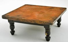 large round coffee tables | Copper Coffee Table - Wood Pedestal Base eclectic-coffee-tables