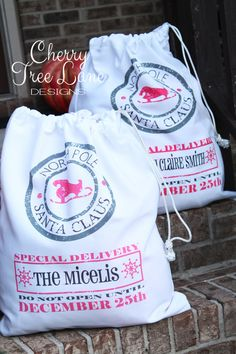 How cute are these!!   Personalized Santa Sack  Christmas Santa by CherryTreeLaneDesign