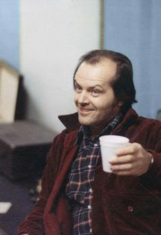 Jack Nicholson between takes while filming The Shining (1980) dir. Stanley Kubrick