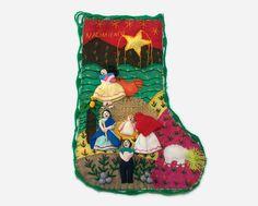 Vintage Peruvian Folk Art Christmas Stocking  by Panicrazia