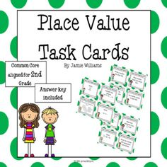 These Place Value Task Cards for grade are aligned with the Common Core! 25 task cards are included. They are ready to be added into one of your centers-just print, laminate, & cut! For your convenience, an answer key is included. I hope you enjoy them! Jamie Williams, Second Grade Math, Place Values, Task Cards, I Hope You, Core, Key, Small Groups, Teaching