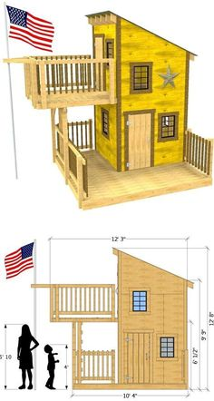 A two level, wooden clubhouse with a upper balcony and trap door, as well as a fire pole exit. A lower porch provides more play area, and the window openings are fitted for 18 x 21 glass shed windows Tiny House Cabin, Tiny House Design, Cubby Houses, Play Houses, Shed Windows, Trap Door, Backyard Playground, Building A Shed, Shed Plans