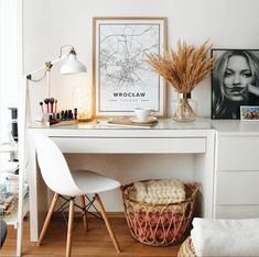 Dressing Table And Chest Of Drawers, Ikea Dressing Table, Dressing Room Decor, Brimnes Dressing Table, Room Ideas Bedroom, Home Decor Bedroom, Ikea Malm Desk, Malm Drawers, My New Room