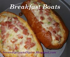 Tired of the same old breakfast? Try these breakfast boats.they're so delicious.ham egg and cheese breakfast boats.unique breakfast boats recipe is sure What's For Breakfast, Breakfast Dishes, Breakfast Recipes, Pan Relleno, Ham And Eggs, Baked Ham, Brunch Recipes, Brunch Foods, Love Food