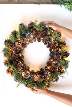 )A DIY pinecone wreath is a great decor project, and offers many creative variations. Like many pine cone crafts, this DIY pinecone wreath is really fu. Diy Fall Wreath, Xmas Wreaths, Wreath Crafts, Winter Wreaths, Pine Cone Art, Pine Cone Crafts, Pine Cones, Holiday Crafts, Christmas Crafts