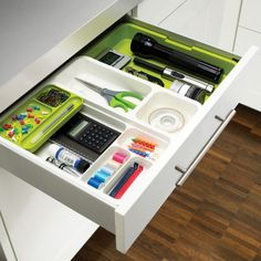 kitchen drawer dividers come with choices of the best drawer divider with different design. There are more choices that you can find for such kitchen drawer divider. Kitchen Drawer Dividers, Office Drawer Organization, Plastic Drawer Organizer, Home Office Storage, Kitchen Drawers, Drawer Organisers, Desk With Drawers, Organization Ideas, Desk Storage