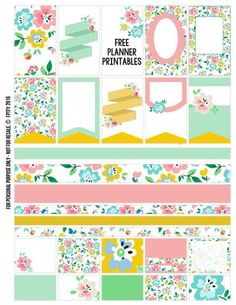 FREE Floral Planner Stickers {Page One} from Free Pretty Things for You Mais To Do Planner, Free Planner, Planner Pages, Happy Planner, Planner Ideas, Weekly Planner Printable, Printable Planner Stickers, Free Printables, Kirigami