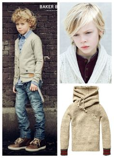 Boy's fashion. Oxford and cardigan with dropped suspenders, jeans, and sneakers