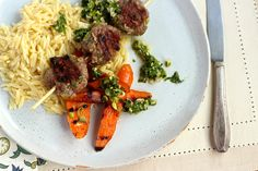 Lamb sausage with lemon orzo and mint chutney from the Sun Basket Test Kitchen
