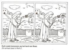 Ruth zoekt korenaren op het veld van Boaz zoek de 10 verschillen