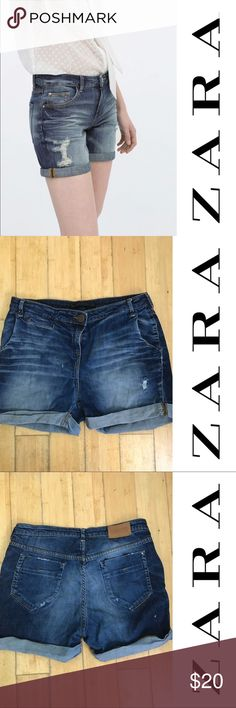 Zara denim shorts size 6 Very pretty and casual perfect for the summer! Size 6 and in excellent condition - they feel great 👌🏻👌🏻 Zara Shorts Jean Shorts