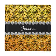 Yellow Floral Pattern Vintage Name Glass Coaster