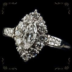 Marquise Diamond Navette Platinum Ring $1,399