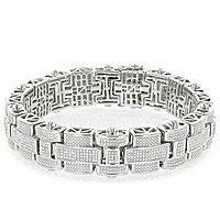 Mens Silver Diamond Bracelet 3.25 ct