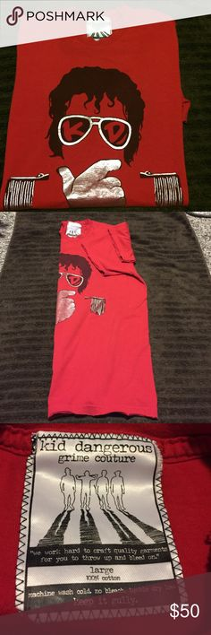 """Kid Dangerous Grime Couture T-shirt MJ Red Large Used but in excellent condition - Circa 2007-2009 Very Rare Kid Dangerous MJ (Michael Jackson) Vintage style frayed short sleeve ends, collar and bottom. 100% Cotton Size Large """"we work hard to craft quality garments for you to throw up and bleed on."""" Kid Dangerous Shirts Tees - Short Sleeve"""