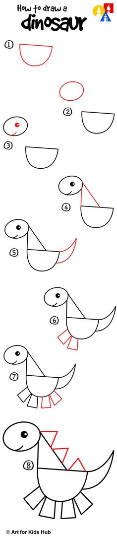 How to draw a dinosaur with shapes!