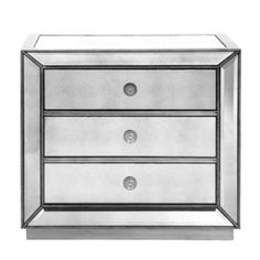 Omni Mirrored 3 Drawer Chest from Z Gallerie  Dimensions:  3 Drawer Chest - 32W x 18D x 30H  3 Drawer Chest - 42W x 18D x 37H  Buffet - 73W x 20D x 38H